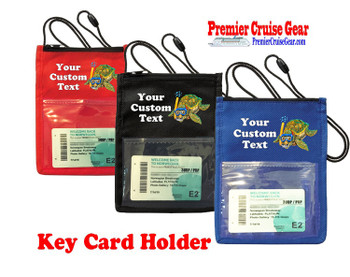 Cruise Card Holder - Custom with your text and colorful art work.  Choice of color.   Design  44