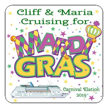 "Cruise Ship Door Magnet - 11"" x 11"" - Mardi Gras 002"