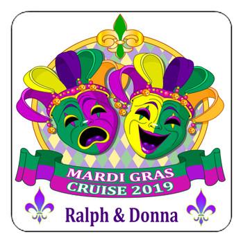 "Cruise Ship Door Magnet - 11"" x 11"" - Mardi Gras 004"