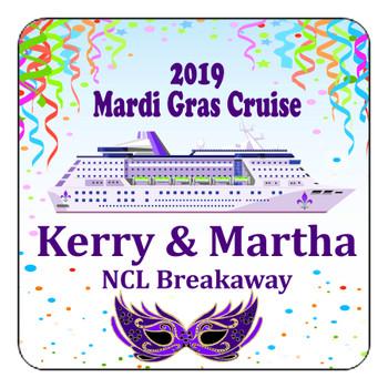 "Cruise Ship Door Magnet - 11"" x 11"" - Mardi Gras 005"