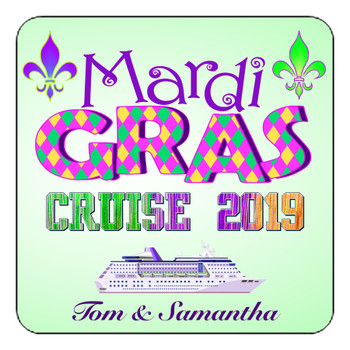 "Cruise Ship Door Magnet - 11"" x 11"" - Mardi Gras 006"