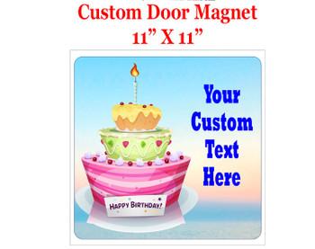 "Cruise Ship Door Magnet - 11"" x 11"" - Birthday 006"