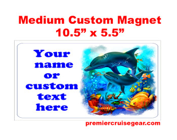 "Cruise Ship Door Magnet - Medium magnet 10 1/2"" x 5 1/2"".  Customizable!  Design 008"