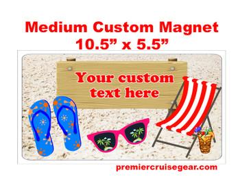 "Cruise Ship Door Magnet - Medium magnet 10 1/2"" x 5 1/2"".  Customizable!  Design 019"
