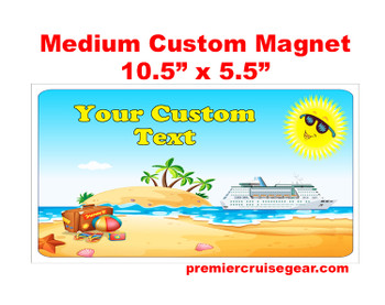 "Cruise Ship Door Magnet - Medium magnet 10 1/2"" x 5 1/2"".  Customizable!  Design 037"