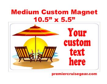 "Cruise Ship Door Magnet - Medium magnet 10 1/2"" x 5 1/2"".  Customizable!  Design 039"
