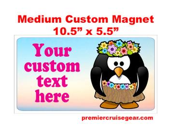"Cruise Ship Door Magnet - Medium magnet 10 1/2"" x 5 1/2"".  Customizable!  Design 045"