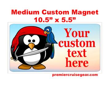 "Cruise Ship Door Magnet - Medium magnet 10 1/2"" x 5 1/2"".  Customizable!  Design 046"