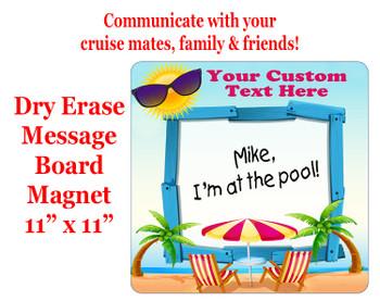 "Cruise Magnet - Dry erasable magnet.  11"" x 11""   Design 009"