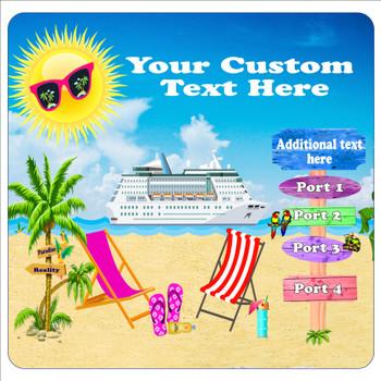 "Cruise Ship Door Magnet - 11"" x 11"" - Custom design - beach 010"