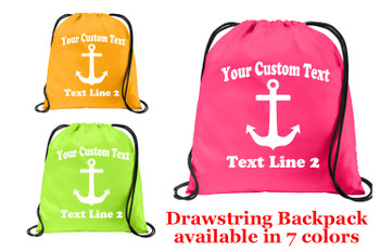 Cruise & Beach theme drawstring back pack - Custom with your text design 006