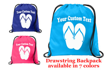 Cruise & Beach theme drawstring back pack - Custom with your text design 007