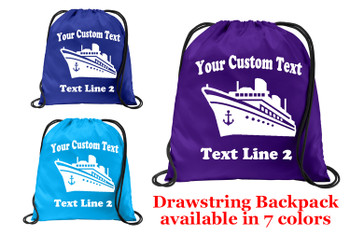 Cruise & Beach theme drawstring back pack - Custom with your text design 008