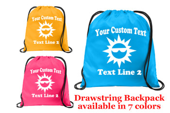 Cruise & Beach theme drawstring back pack - Custom with your text design 009