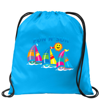 Cruise & Beach theme drawstring back pack - Available in 7 colors. Colorful decorations perfect for your little cruisers!  004