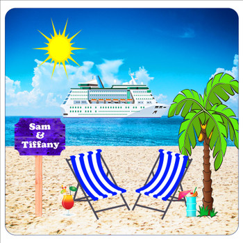 """Cruise Ship Door Magnet - 11"""" x 11"""" -  Customized  with your text"""