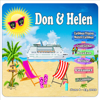 """Cruise Ship Door Magnet - 11"""" x 11"""" -  Customized  with your text - D001"""