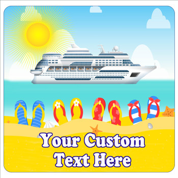 """Cruise Ship Door Magnet - 11"""" x 11"""" -  Customized  with your text -feb008"""