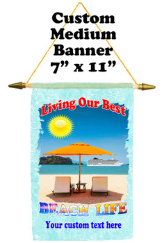 Cruise Ship Door Banner -  available in 3 sizes.    Custom with your text!  -beach life