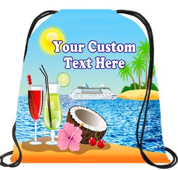 Cruising theme custom drawstring back pack - custom 058