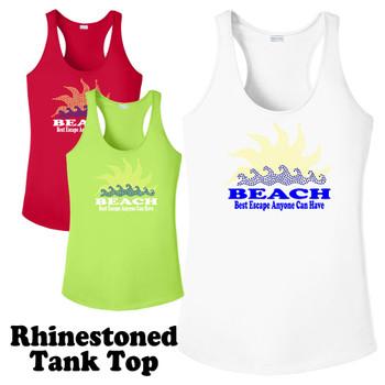 Rhinestone theme tank top. Ladies' tank top with rhinestone design - 002
