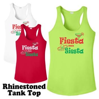 Rhinestone theme tank top. Ladies' tank top with rhinestone design - 003