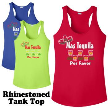 Rhinestone theme tank top. Ladies' tank top with rhinestone design - 006