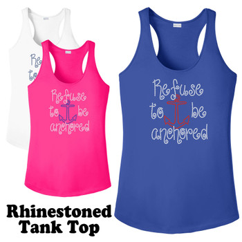 Rhinestone theme tank top. Ladies' tank top with rhinestone design - 010