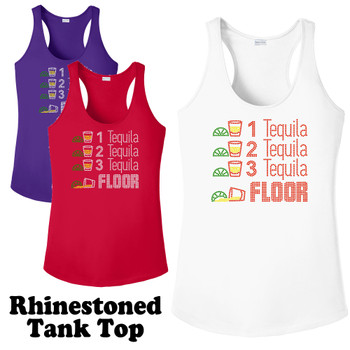 Rhinestone theme tank top. Ladies' tank top with rhinestone design - 011