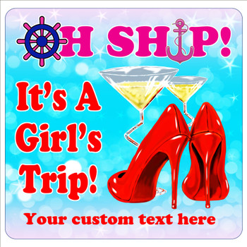 "Cruise Ship Door Magnet - 11"" x 11"" - girls trip 1"