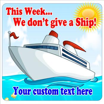 """Cruise Ship Door Magnet - 11"""" x 11"""" - give a ship"""