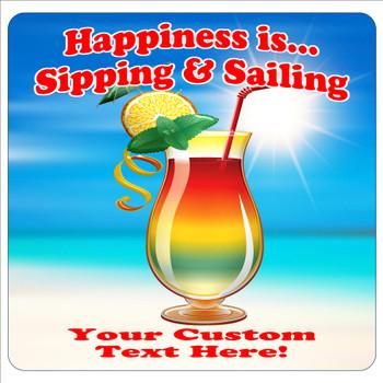 """Cruise Ship Door Magnet - 11"""" x 11"""" - happiness 1"""