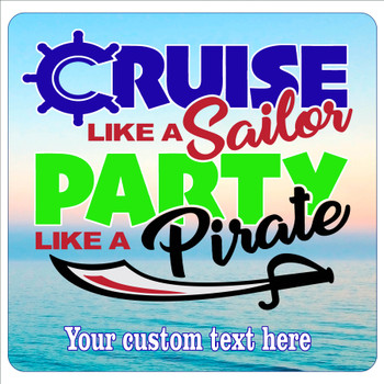 """Cruise Ship Door Magnet - 11"""" x 11"""" - pirate party 1"""