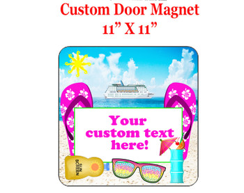 "Cruise Ship Door Magnet - 11"" x 11"" - Beach Scene 2"