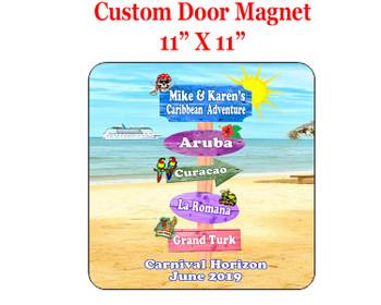 "Cruise Ship Door Magnet - 11"" x 11"" - Sign Post 4"