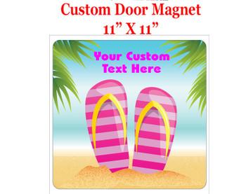 """Cruise Ship Door Magnet - 11"""" x 11"""" -  Flip Flops"""