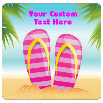 "Cruise Ship Door Magnet - 11"" x 11"" -  Flip Flops"