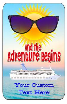 "Cruise Ship Door Magnet - Extra large 11"" x 17"" - Adventure Begins"