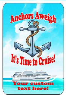"Cruise Ship Door Magnet - Extra large 11"" x 17"" - Anchors Aweigh"