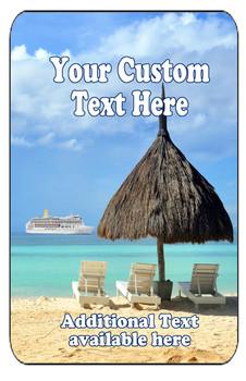 "Cruise Ship Door Magnet - Extra large 11"" x 17"" - Beach 1"