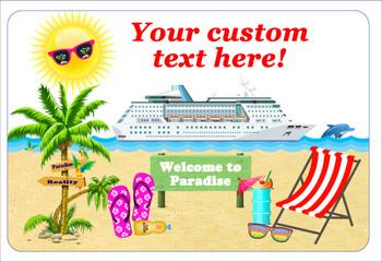 "Cruise Ship Door Magnet - Extra large 11"" x 17"" - Beach Scene 1"