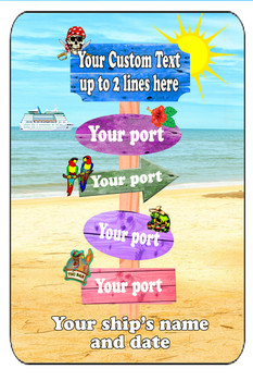 "Cruise Ship Door Magnet - Extra large 11"" x 17"" - Sign Post 1"