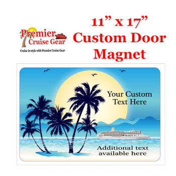 "Cruise Ship Door Magnet - Extra large 11"" x 17"" - Sunset"