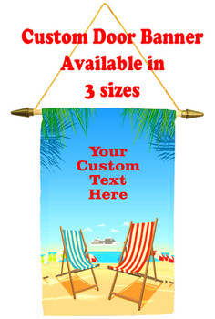 Cruise Ship Door Banner -  available in 3 sizes.      Beach Chair Design 3
