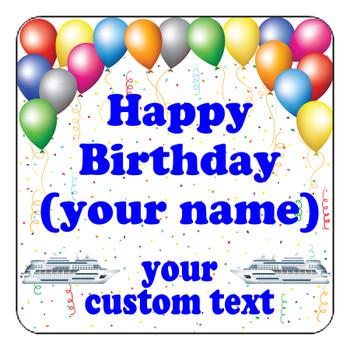 "Cruise Ship Door Magnet - 11"" x 11"" - Birthday 1"