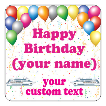 "Cruise Ship Door Magnet - 11"" x 11"" - Birthday 2"