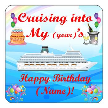 "Cruise Ship Door Magnet - 11"" x 11"" -  Into Birthday"