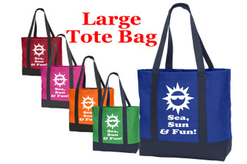 Poly Canvas Tote Bag -sea, sun, fun