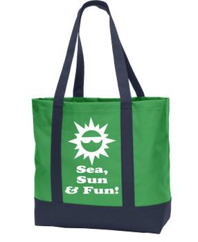 Poly Canvas Tote Bag -sea, sun, fun