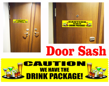Cruise cabin door sash - caution